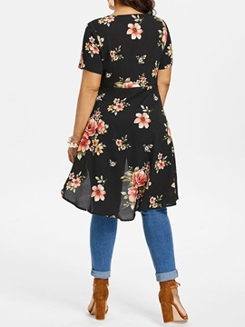 Plus Size Floral Print V-Neck Mid-Length Women's Blouse