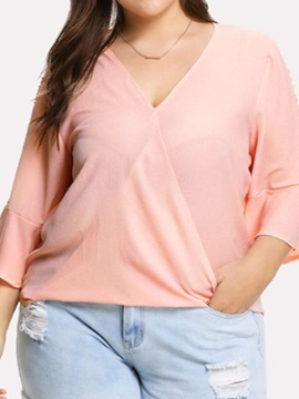 Plus Size V-Neck Plain Flare Sleeve Women