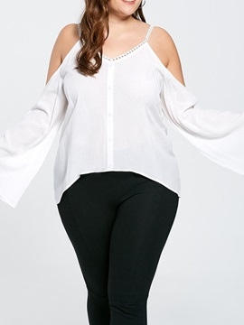 Plus Size Flare Sleeve Plain Women