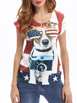 Plus Size Animal Dog Print Round Neck Slim Women's T-Shirt