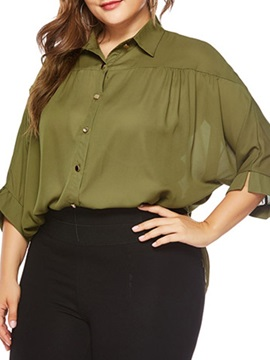 Plus Size Plain Three-Quarter Sleeve Loose Women's Blouse
