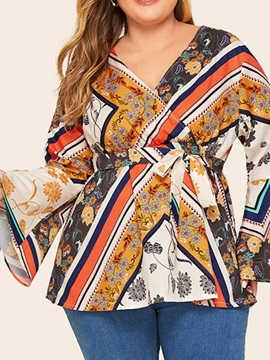 Plus Size Flare Sleeve Floral V-Neck Women