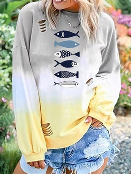 Plus Size Round Neck Animal Long Sleeve Loose Casual Women's T-Shirt