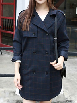Korean StyleDouble Breasted Plus Size Trench Coat