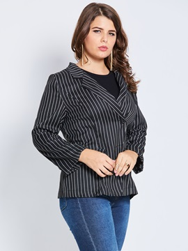 Plus Size Stripe Notched Lapel One Button Blazer