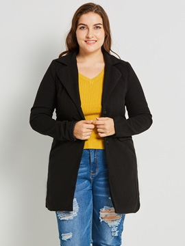 Plus Size Single Breasted Mid-Length Women's Trench Coat