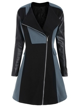 Plus Size Mid-Length Patchwork Color Block Women's Coat
