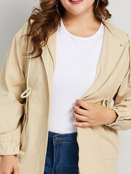 Plus Size Zipper Hooded Lace-Up Fall Women's Trench Coat