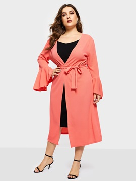 Flare Sleeve Long Casual Women's Trench Coat