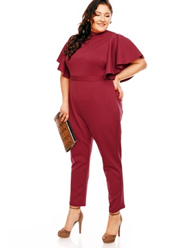 Ruffle Sleeve Solid Color Ankle Length Jumpsuits