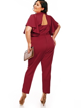 Ruffle Sleeve Solid Color Ankle Length Women's Jumpsuit