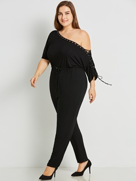 Plus Size Plain Slim Lace-Up Women's Jumpsuit