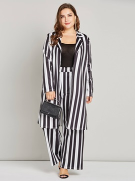 Striped Thin Coat And Wide Legs Pants Women's Suit
