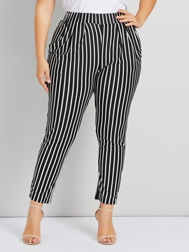 Plus Size Elastics Stripe High Waist Women's Casual Pants