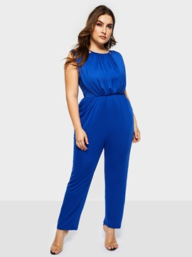 Plus Size Plain Sexy Loose Sleeveless Women's Jumpsuit
