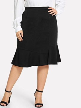 A-Line Plain Knee-Length Plus Size Women