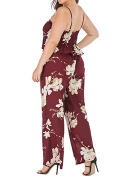 Plus Size Floral Pleated Pullover Straight Women's Two Piece Sets