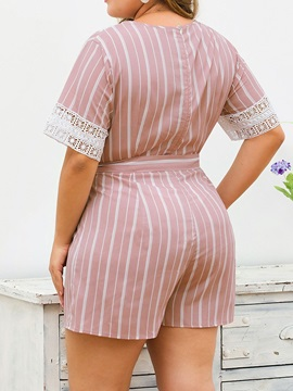 Plus Size Hollow Mid-Calf Casual Straight Loose Women's Jumpsuit