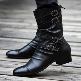 Black Pleated Strappy Buckled Boots