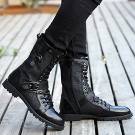 Black Patchwork Buckled Martin Boots