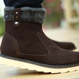 Fur Patchwork Solid Color Snow Boots