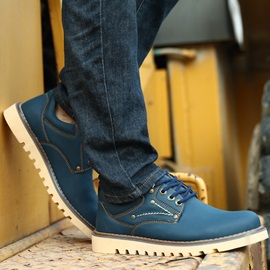 Solid Color Lace-Up Plain-Toe Derbies