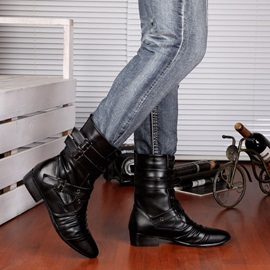 Black Ruched Pointed Toe Men's Boots