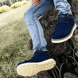 Suede Thread Lace-Up Men's Boots
