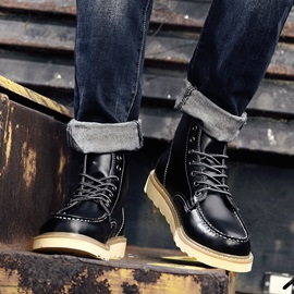 British Round Toe Lace-Up Men's Boots