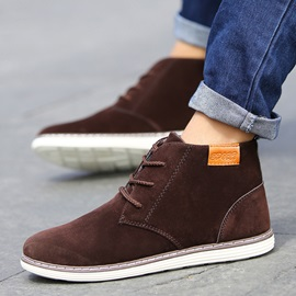 Round Toe Suede Lace-Up Men's Boots