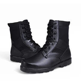 Black Round Toe Lace-Up Men's Boots