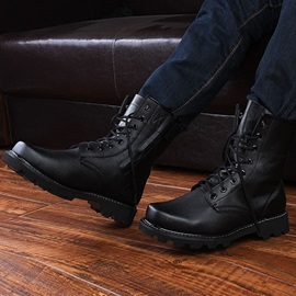 Black Round Toe Lace-Up Men's Moto Boots