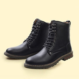 England Round Toe Lace-Up Men's Boots