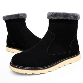 Suede Round Toe Slip-On Men's Martin Boots