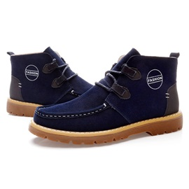 Suede Square Toe Lace-Up Men's Boots