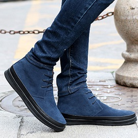 Suede Round Toe Lace-Up Boots