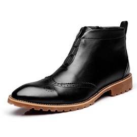 British Pointed Toe Zippered Men's Brugue Shoes