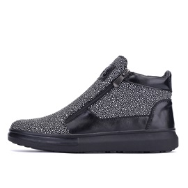 Rhinestone Zippered Men's Boots