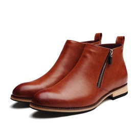 PU Zippered Plain Toe Men