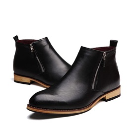 PU Zippered Plain Toe Men's Boots