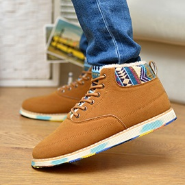Geometric Suede Lace-Up Men's Boots