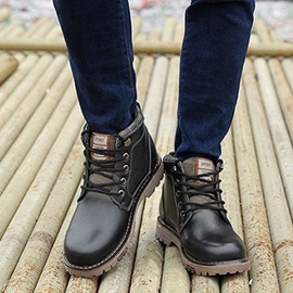Round Toe PU Lace-Up Men's Boots