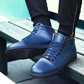 Solid Color PU Lace-Up Men's Shoes