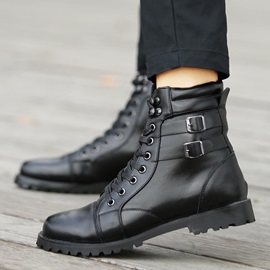 Black Buckles Lace-Up Men's Moto Boots