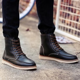 British PU Thread Lace-Up Men's Boots