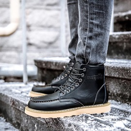 Solid Color Lace-Up Men's Martin Boots