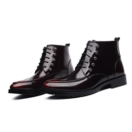 PU Rivets Pointed Toe Lace-Up Men's Boots