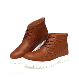 Round Toe Lace-Up Front Men's Brogue Shoes