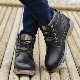British PU Round Toe Lace-Up Men's Boots