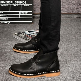 Thread Round Toe Lace-Up Men's Boots
